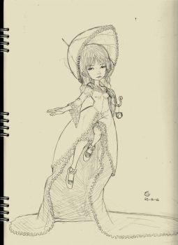 Velice victorian lady -1st step sketch by LexLineArt