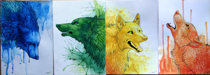 Colorful Wolves II by TransparentGhost
