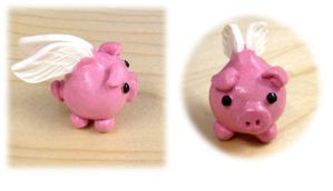 Little Polymer Clay Piggy With Wings by Xx-tangerine-xX