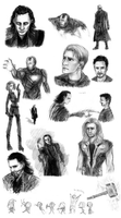 Avengers sketchdump by Law-of-Murph