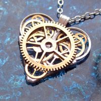 Geared Clockwork Heart Pendant by AMechanicalMind