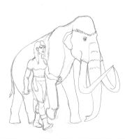 A giant and her mammoth by TroyandFriends