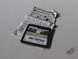 IPad placed on a newspaper - drawing by marcellobarenghi