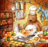 Cooking Bear by Zzzeus