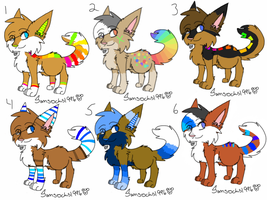 Rainbow/Blue/Brown wolves - CLOSED by samsocksadopts