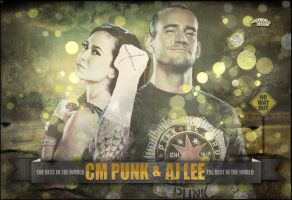 CM Punk and AJ Artwork - WWE by roXx81