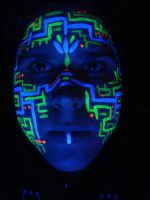 UV Circuitboard Face Paint by Faeriegem