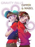 Dipper and Mabel by el-e