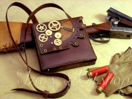Steampunk leather pouch II by izasartshop