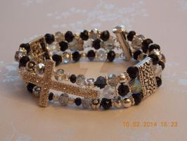 3-strand black and silver diamante cross bracelet by Quested-Creations