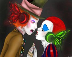 Mad hatter X Red Queen:Magnet: by inicka
