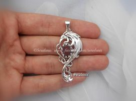 'Amethyst dragon' handmade sterling silver pendant by seralune