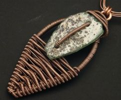 Woven Copper with Roman Glass Pendant by WiredElements
