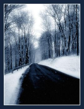 bluecountry road in winter1 by friedzombiebrain