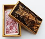 Pyrography Wolf Tarot Box by BumbleBeeFairy
