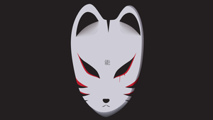 Noh Fox Mask Logo 3 by Tasemu