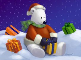 Cute Polar Bear Santa by Nyrak