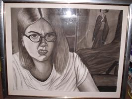 Angry self portrait in inkwash by cheshireINwonderland