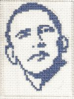 Barack Obama Cross Stitch by magentafreak
