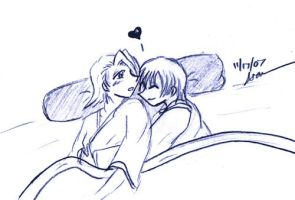 Gin and Kira Cuddle by letainajup