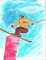 Skiing watercolor by GhostOfPardition