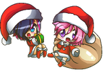 Chrismas Chibis- Zeryx And Avelyn by SwordGameTonight