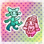Buneary and Riolu by sinistergrumpy