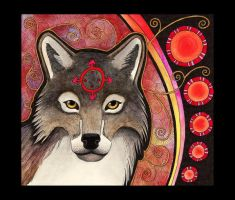Red Gray Wolf as Totem by Ravenari