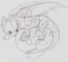 Toothless (not finished-sketch) by GothicBlueEyes