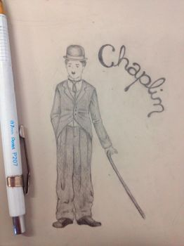 Chaplin on the desk by LineBorowski