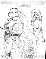 TMNT DoTT Raphael and Lotus by alaer