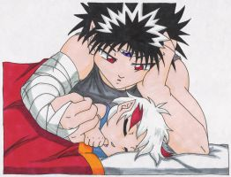 Hiei and his baby boy by HieisWoman
