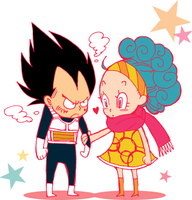 Chibi Vegeta and Bulma by piyo119