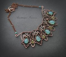 necklace with chalcedony by nastya-iv83