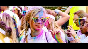a girl  on the paris color run by skyimpact