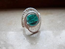 silver aquamarine wire wrapped statement ring by Toowired