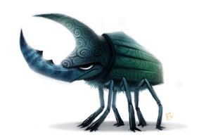 Daily Paint 691. Rhino Beetle Quickie by Cryptid-Creations