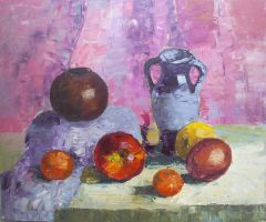 tangerines and apples by Infinitely