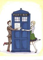The Doctor, TARDIS, and Brooke by lacking-creativity