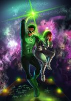 green lantern and sexy girl by Carlos-Chable