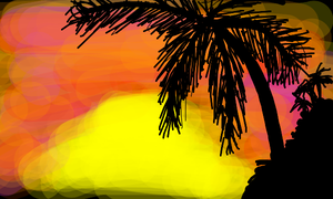 sunset with palm trees by MusicTheatre102