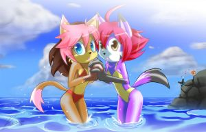 Stella and Roxy in the beach by howlzapper
