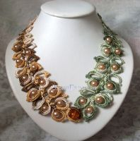 Crochet necklace with beads by ZajiGalochka