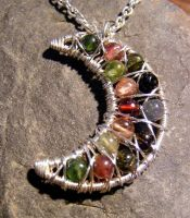 Tourmaline Moon Necklace by MoonLitCreations