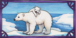 Polar Bear Bookmark by Avanii