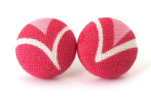 Stud earrings button red pink white heart upcycled by KooKooCraft