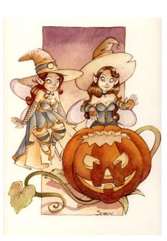 Halloween Witch Watercolor by Ood-Serriere