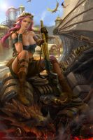 Steampunk female warrior by derrickSong