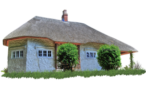 Fairytale Thatched Cottage PNG.. by Alz-Stock-and-Art