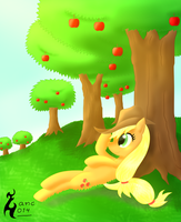 Apple under the tree by zanclife